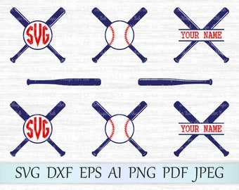 Baseball monogram svg file, Baseball bat svg, Softball bat svg, Criss crossed bats, Baseball bat cricut, Split Baseball svg, Circle frame