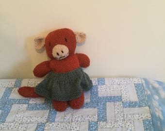 Hand knitted monkey with skirt