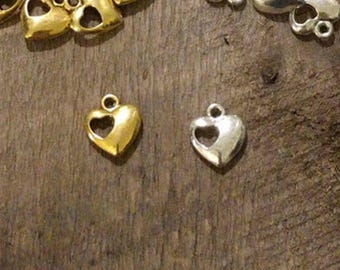 Heart Charm - Heart with Cutout Heart Pendant