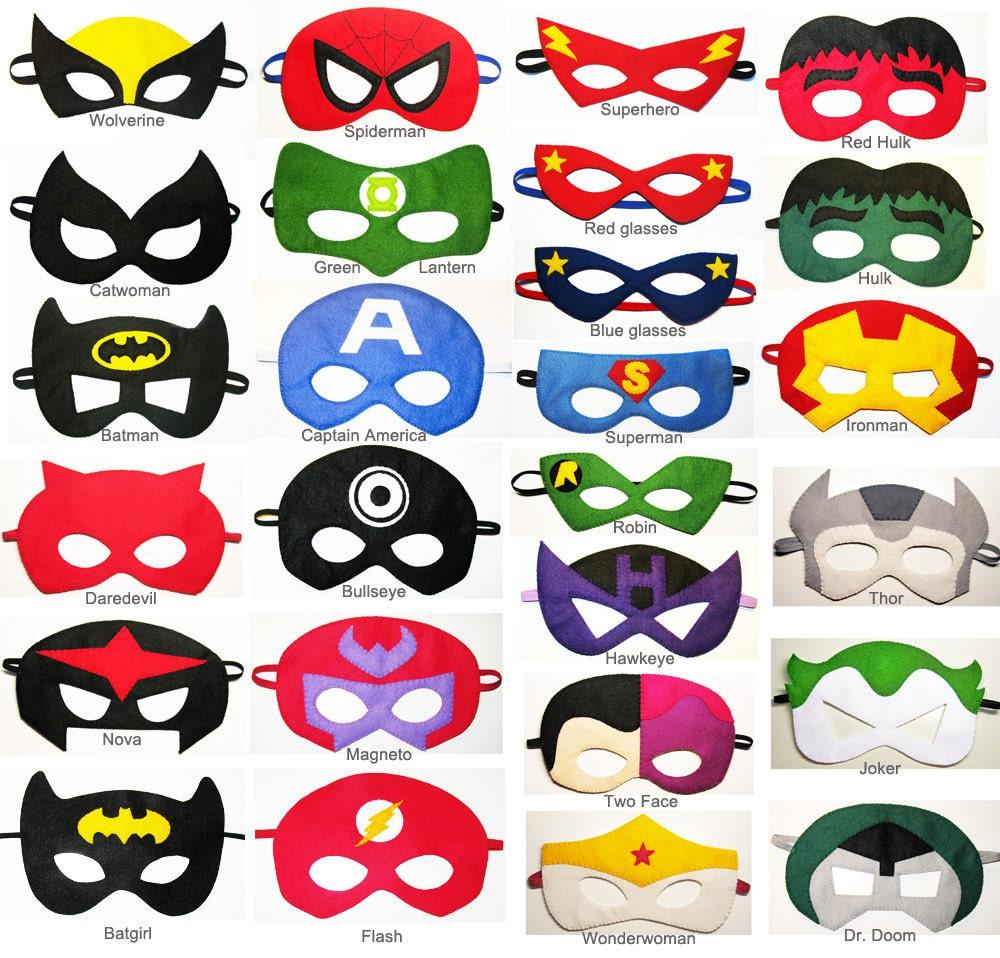 7 felt superhero masks party pack wholesale you choose