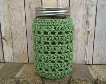 Mason Jar Cozy - Quart Sized Jar Cover - Crochet Bottle Cozy - Wide Mouth - Cotton - Choose Color - Food Gift Idea - MADE TO ORDER