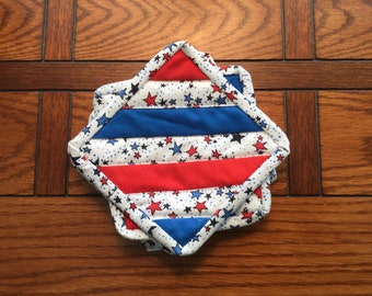 Quilted coasters Patriotic Stars and Stripes