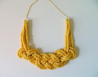 Mustard Yellow Rope Necklace Knot Necklace yellow necklace wedding Bridesmaid gift Nautical Necklace valentines Sailor choker Bib necklace