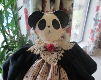 Panda , Primitive Panda Doll , Handmade Folkart Doll ,  Primitive Room Decor , Decorative Panda, Simply Nantucket's Pattern - Zoo Animal