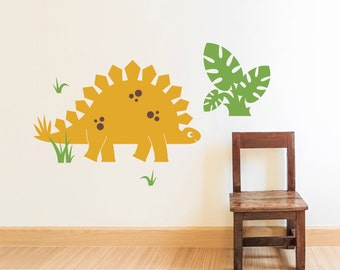 Dinosaur Wall Decal Stegosaurus Cute Dino Baby Nursery Decals Kids Dinosaur Wall Art (LARGE SIZE)