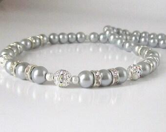 Grey Pearl Bridal Jewellery, Platinum Bridesmaid Necklace, Silver Grey Wedding Pearls, Bridal Party Gifts, Pearl Bridal Sets, Grey Wedding