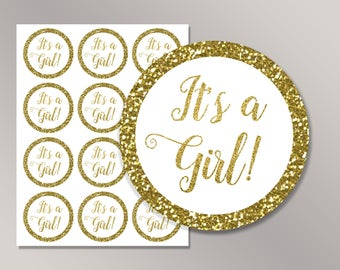 It's a Girl Cupcake Toppers, Its a Girl favor tags, Gold It's a Girl stickers Printable, Gender reveal Labels, Baby Shower Décor ideas