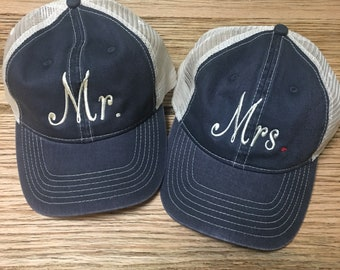 Mr. and Mrs. Comfort Colors Trucker Hats, Great for Honeymooners!