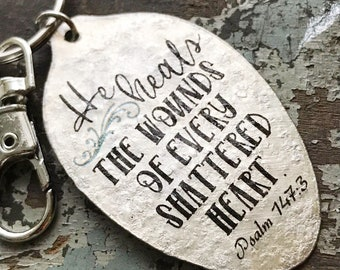 Psalm 147:3 He Heals the Wounds of Every Shattered Heart keychain, Christian Scripture Gift, Silverware Jewelry by Kyleemae Designs