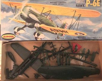 Vintage Aurora Curtiss Hawk Model Airplane Army 1/4 scale kit 1956 116-98