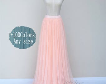 Adult floor length tulle skirt, ligth orange women wedding dress,maxi tulle skirt