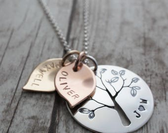 Mixed Metal Family Tree Necklace - Hand Pierced Design with Leaves, Initials, and Children's Names - Mother's Day Jewelry Gifts
