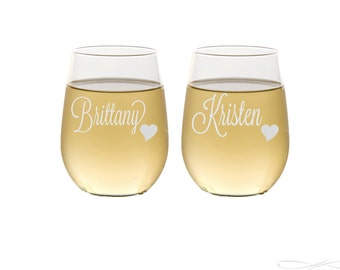 Stemless Wine Glasses / Personalized Wine Glasses / Bridesmaids Gift / Wedding Toasting / Engraved Glasses / Custom - Select ANY Quantity