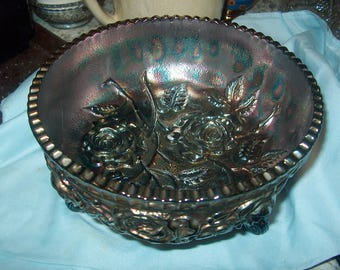 Antique Vintage Carnival Glass Footed Bowl, Blue Purple Iridescent, Roses