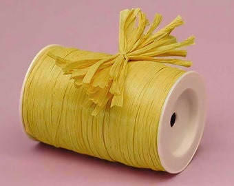 Yellow Matte Raffia Ribbon - 10 Yards - Many Colors Available