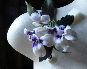Ivory & Purple Velvet Pansies European Vintage for Bridal, Boutonnieres, Hats, Corsages, Bouquets
