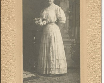 Antique 1900 Cabinet Photograph of Beautiful Woman with Flowers