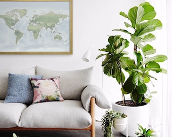 Green Push Pin Map with Gold, White, or Black Framed Pin World Map