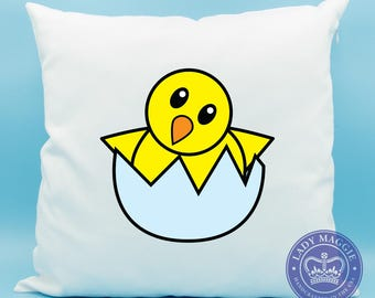 Yellow Hatching Chick Emoji Pillow - Baby Chicken Emoji - Hatching Baby Chick Emoji Cushion - Newborn Baby Chick Pillow - Hatching Chick