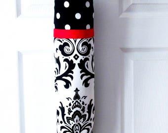 Plastic Bag Holder  Black - White  and Red  Polka Dots - Damask Large Plastic Grocery Bag, Ribbon Trimmed Plastic Bag Dispenser