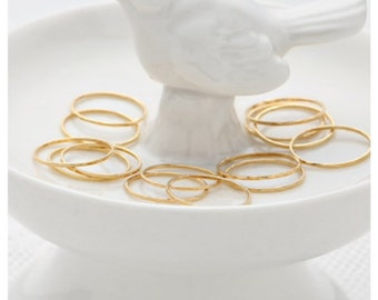Gold stackable rings, set skinny thin gold ring, knuckle rings, hammered gold filled ring, dainty jewelry.