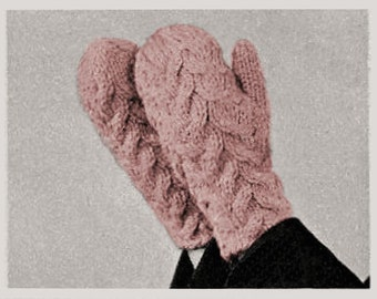 Mittens, Cable Design, Vintage Knitting Pattern, INSTANT DOWNLOAD PDF
