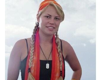 Flame Orange Sash, SA66 - Bohemian Belt - Guatemalan Textiles - Ikat Fabric - Gypsy Clothing - Fabric Sash Belt - Woven Sash