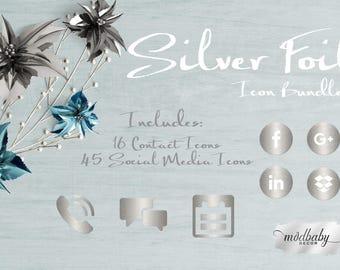 Silver Foil Icon Bundle - Instant Digital Download