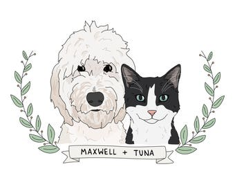 Custom Dog Portrait, Custom Cat Portrait - Pet Portrait, Pet Illustration, Pet Memorial, Digital Pet Portrait, Custom Portrait Pet, Cat Lady