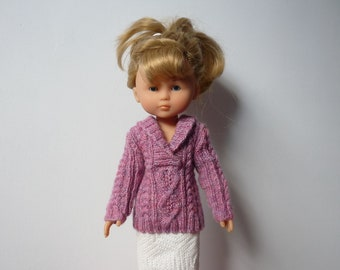 """Hand Knitted Cable Sweater with Crossover Collar (Purple) for 13"""" Doll  (Les Cheries, Similar) - Ready to Ship"""