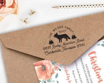 """Custom Return Address, Fox Stamp, Woodland Stamp, Wilderness Stamp, Wooden Stamp, 2"""" x 1.25"""", 112WS42"""