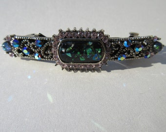 vintage barrette small blue foil hair clip Cabochon sparkle Rhinestone Elegant dressy evening holiday Bespoke Crystal Hair Jewels Gift idea