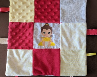 Baby Belle Embroidery Ribbon Baby Blanket Lovey Minky Flannel