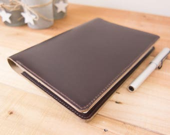 Leather Taroko Enigma or Mystique Cover, A5 Notebook Cover, Bullet Journals, Fountain Pen Tomoe River Paper, Horween, Burgundy #8
