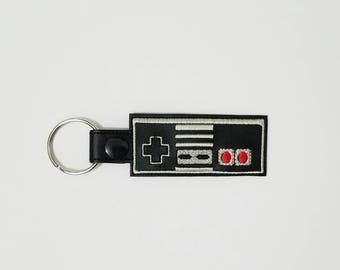 Video game key fob, embroidered keychain, vinyl key chain, gamer gift, retro video game, embroidered key fob, gift for him, gamer accessory