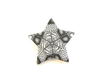 Intricate Star Brooch ~ Handmade Polymer Clay ~ Millefiori Design by Supremily Jewellery ~ Made in UK ~ Grey ~ Small Pin Badge