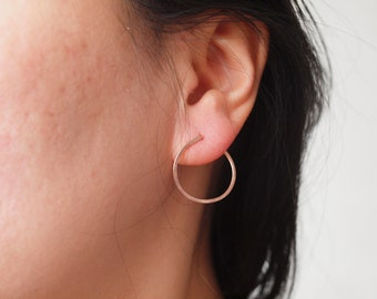 Large open circle stud earrings, 20mm, 14K rose gold filled, gold filled, sterling silver, two ways