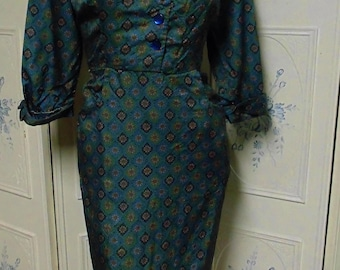 """1960  Green and Blue Dress with Diamonds, Bust 42"""""""