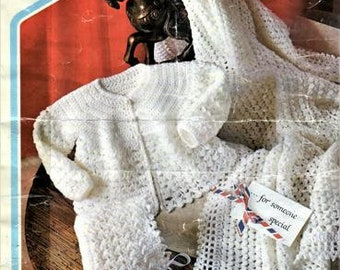 Babies Layette Crochet Pattern, Bonnet, Shawl and Jacket, Instant download pdf, size 16 to 20 inch chest, 4 ply yarn or wool