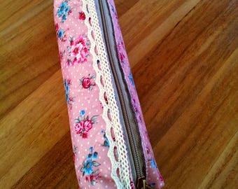 Pink floral clutch - ecru lace
