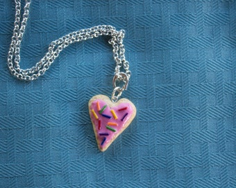 Frosted Sugar Cookie  Heart Shaped Necklace