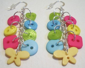Summer - Lime Green, Hot Pink, Yellow and Aqua button sterling silver drop/dangle earrings Button Jewellery Button Jewelry UK Handmade