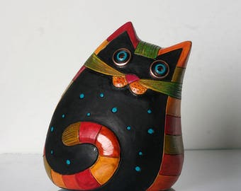 Statuette Cat Pottery, Cats, Cat Art, Ceramic Cat Decor, Ceramic Cats, Cat Sculptures, Ceramic Figurine Animal, Clay Cats