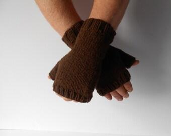 Men's Fingerless gloves. Gift for Dad. Brown fingerless gloves. Cameramans gloves. Handknit mens mitts. Ski gloves. Ready to ship Irish knit
