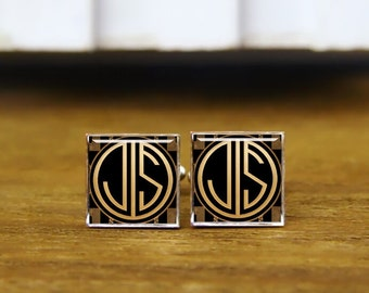Monogram Initial Cufflinks, Custom 2 Letters Cufflinks, Round Or Square Cufflinks & Tie Clips, Groom Wedding Cufflinks, 1920s Style Jewelry