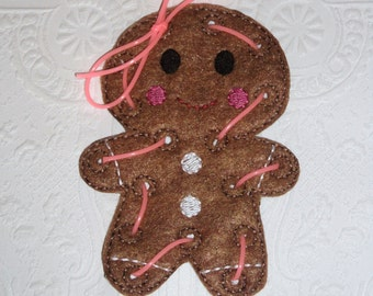 Felt Gingerbread Lacing Card, Quiet Time Activity, Busy Bag Activity, Felt Lacing Toy, Gingerbread Sewing Game Learning Game Gingerbread Man