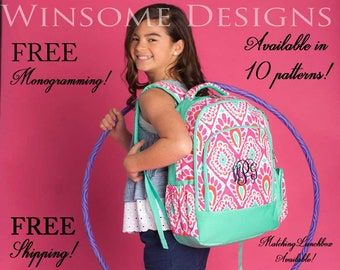 Book Bag-Canvas Backpack-Embroidered-Name-Monogram Backpack-Monogram-Personalized-Custom-Lunch Box-School-Kids-School Supplies-Lunch Bag