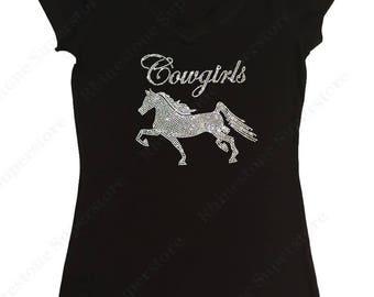 "Women's Rhinestone T-Shirt "" Cowgirl's & Horse "" in S, M, L, 1X, 2X, 3X"
