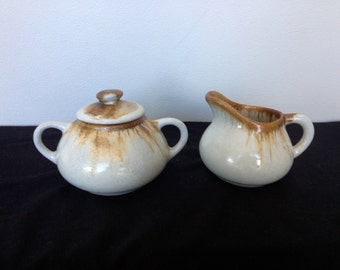 Vintage Pigeon Forge Pottery Drip Glaze Creamer and Sugar Bowl With Lid