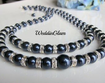 Double Strand Pearl Necklace Delicate Pearl Necklace Navy blue Double Strand Swarovski Pearl Necklace  Bridal Bridesmaid Gift Fall wedding